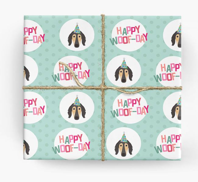 'Happy Woof-day' Wrapping Paper with Saluki Icons