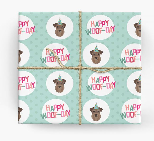 'Happy Woof-day' Wrapping Paper with Schnauzer Icons