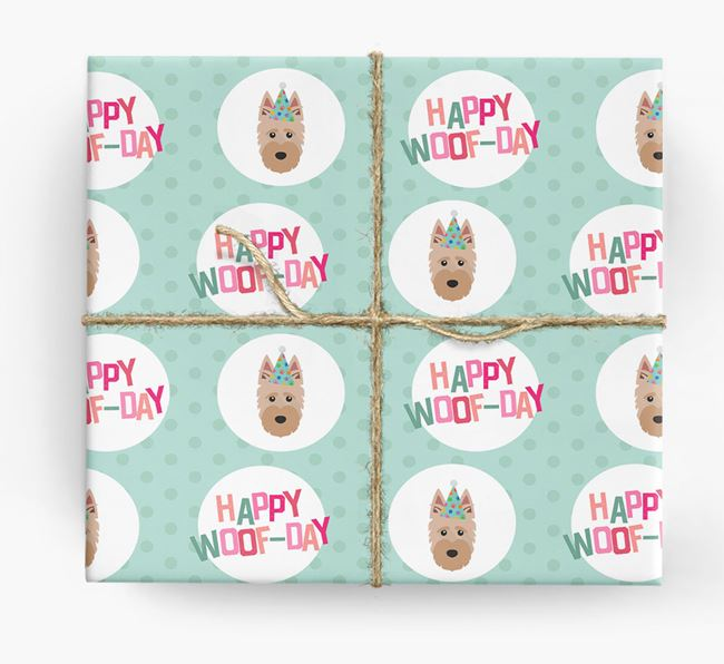 'Happy Woof-day' Wrapping Paper with Scottish Terrier Icons