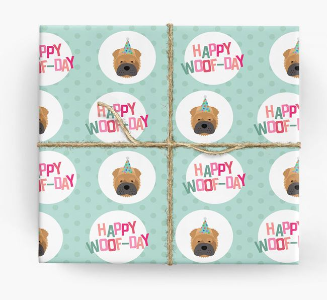 'Happy Woof-day' Wrapping Paper with Shar Pei Icons