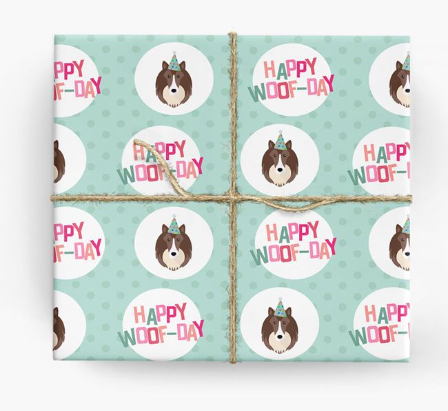 'Happy Woof-day' Wrapping Paper with Shetland Sheepdog Icons