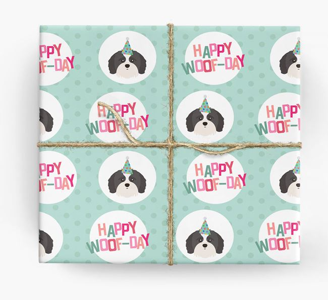 'Happy Woof-day' Wrapping Paper with Shih-poo Icons