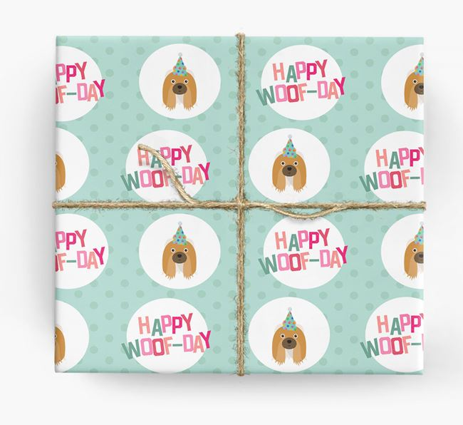'Happy Woof-day' Wrapping Paper with Shih Tzu Icons