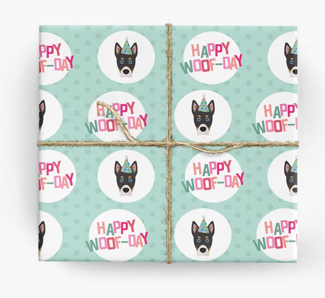 'Happy Woof-day' Wrapping Paper with Siberian Cocker Icons
