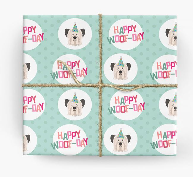 'Happy Woof-day' Wrapping Paper with Skye Terrier Icons