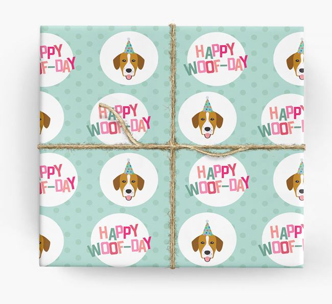 'Happy Woof-day' Wrapping Paper with Springador Icons