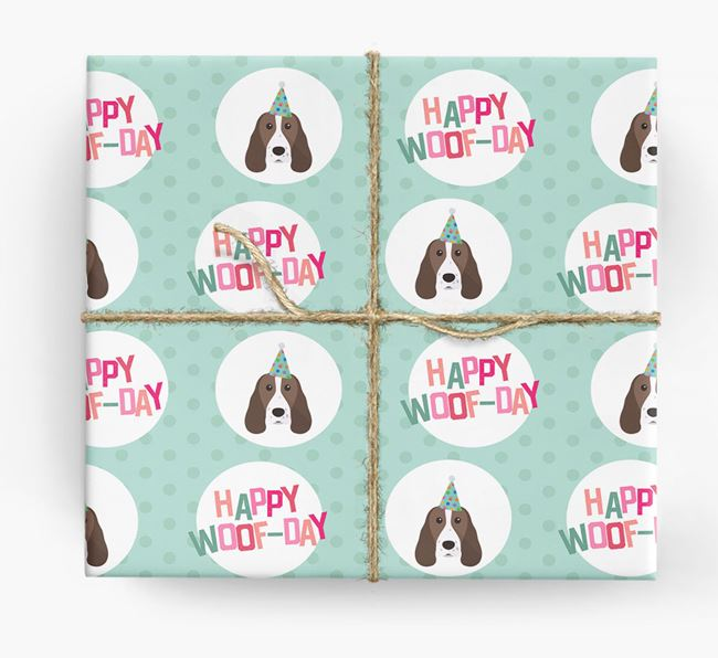 'Happy Woof-day' Wrapping Paper with Springer Spaniel Icons