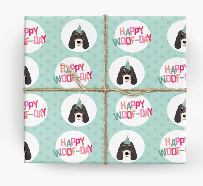 'Happy Woof-day' Wrapping Paper with Sprocker Icons