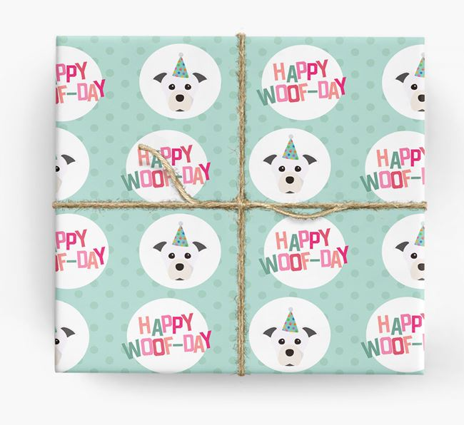 'Happy Woof-day' Wrapping Paper with Staffordshire Bull Terrier Icons