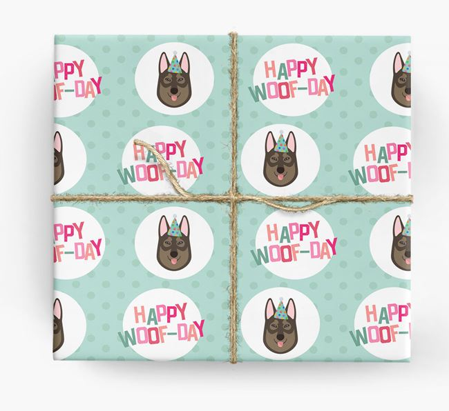 'Happy Woof-day' Wrapping Paper with Tamaskan Icons