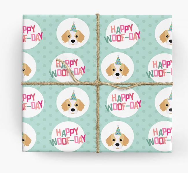 'Happy Woof-day' Wrapping Paper with Tibetan Spaniel Icons