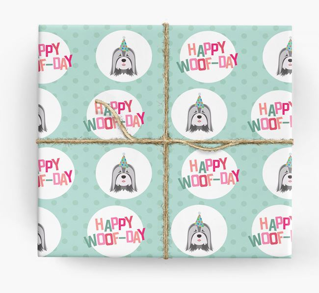 'Happy Woof-day' Wrapping Paper with Tibetan Terrier Icons