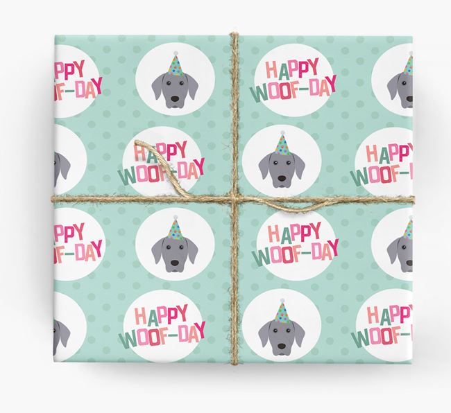 'Happy Woof-day' Wrapping Paper with Dog Icons