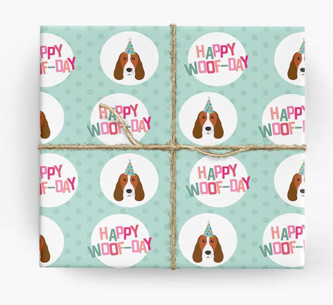 'Happy Woof-day' Wrapping Paper with Welsh Springer Spaniel Icons