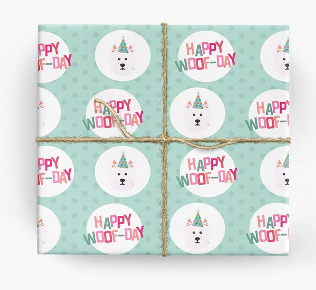 'Happy Woof-day' Wrapping Paper with West Highland White Terrier Icons