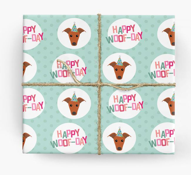 'Happy Woof-day' Wrapping Paper with Whippet Icons