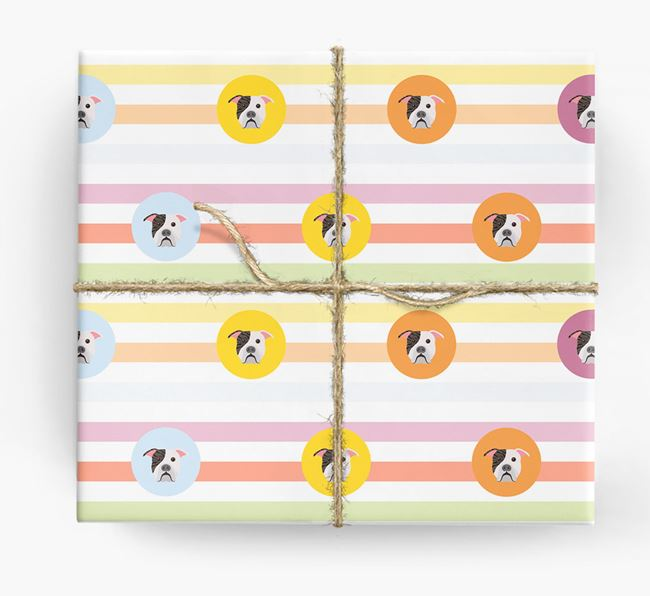 Colourful Wrapping Paper with American Bulldog Icons