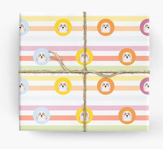 Colourful Wrapping Paper with Bearded Collie Icons