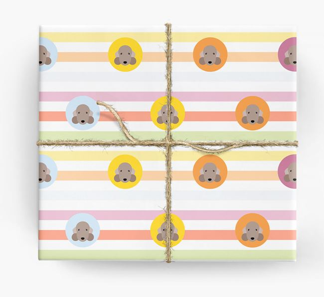 Colourful Wrapping Paper with Bedlington Terrier Icons