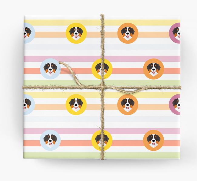 Colourful Wrapping Paper with Bernese Mountain Dog Icons