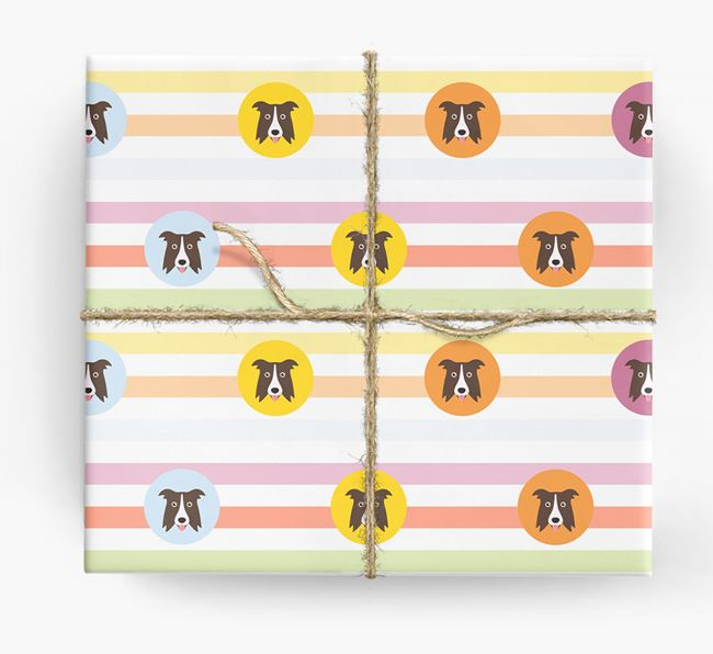 Colourful Wrapping Paper with Border Collie Icons
