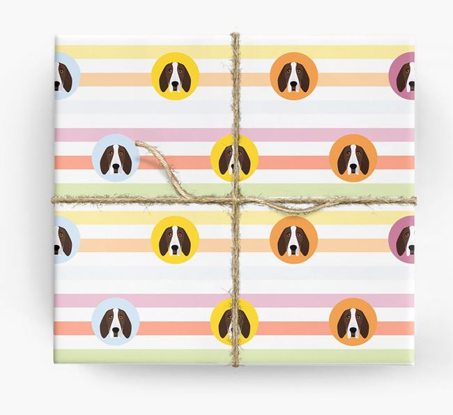 Colourful Wrapping Paper with Bracco Italiano Icons