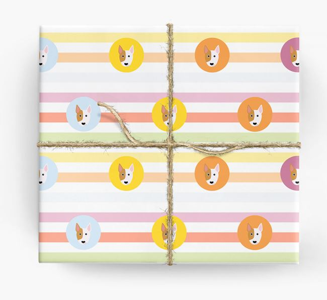 Colourful Wrapping Paper with Bull Terrier Icons