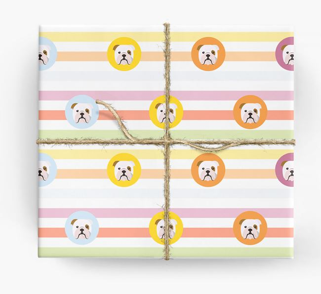 Colourful Wrapping Paper with English Bulldog Icons