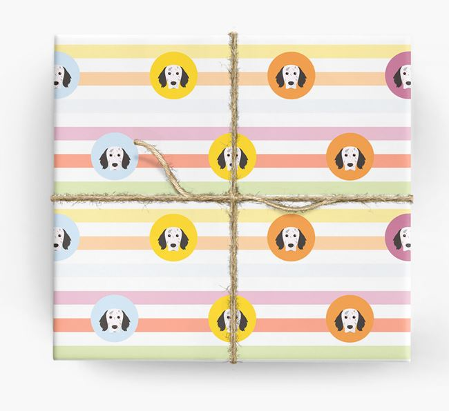 Colourful Wrapping Paper with English Setter Icons