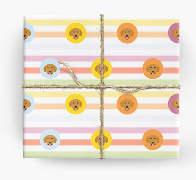 Colourful Wrapping Paper with Golden Retriever Icons
