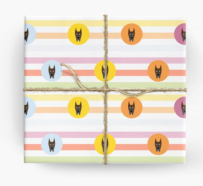 Colourful Wrapping Paper with Great Dane Icons