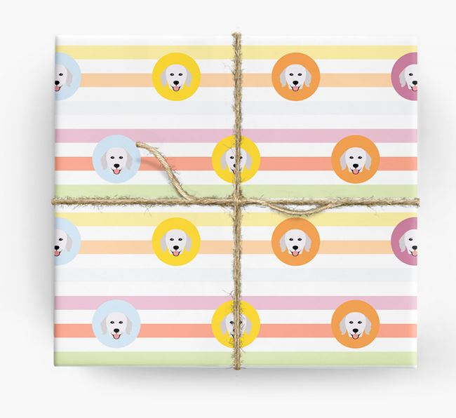 Colourful Wrapping Paper with Hungarian Kuvasz Icons