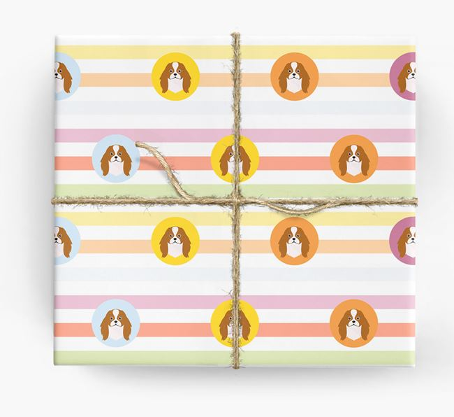 Colourful Wrapping Paper with Japanese Chin Icons