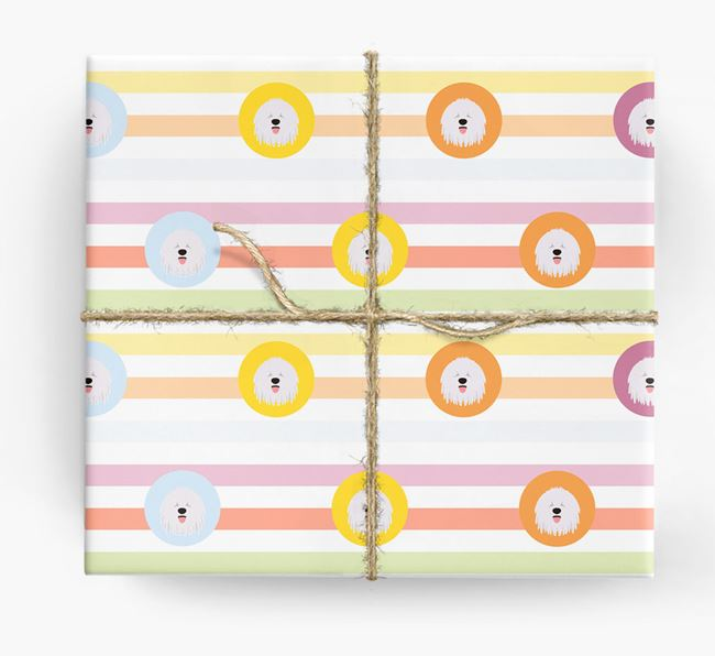 Colourful Wrapping Paper with Komondor Icons