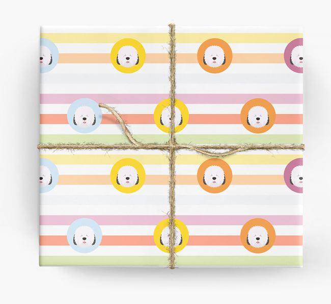 Colourful Wrapping Paper with Old English Sheepdog Icons