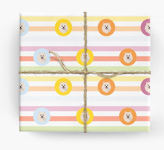 Colourful Wrapping Paper with Pomeranian Icons