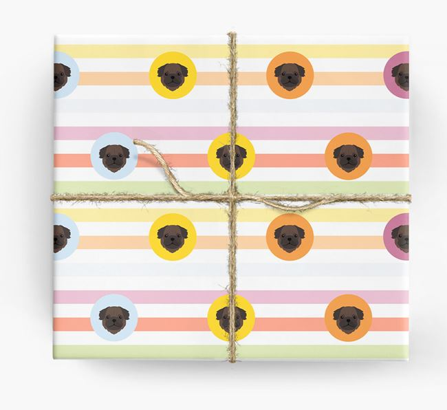 Colourful Wrapping Paper with Pug Icons