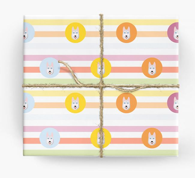 Colourful Wrapping Paper with Siberian Husky Icons