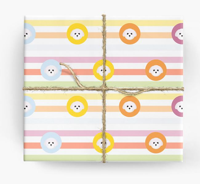 Colourful Wrapping Paper with Toy Poodle Icons