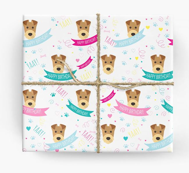 'Happy Birthday' Ribbon Wrapping Paper with Airedale Terrier Icons