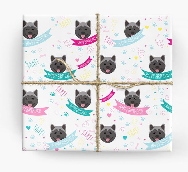 'Happy Birthday' Ribbon Wrapping Paper with Akita Icons