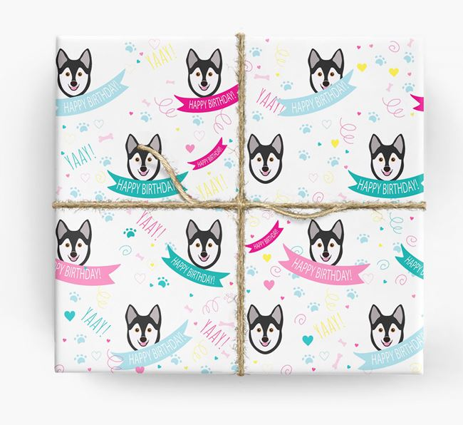 'Happy Birthday' Ribbon Wrapping Paper with Alaskan Klee Kai Icons