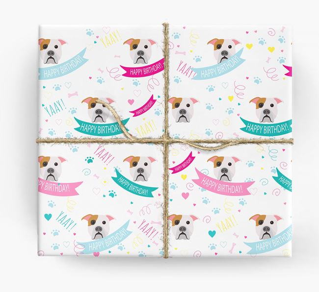 'Happy Birthday' Ribbon Wrapping Paper with American Bulldog Icons