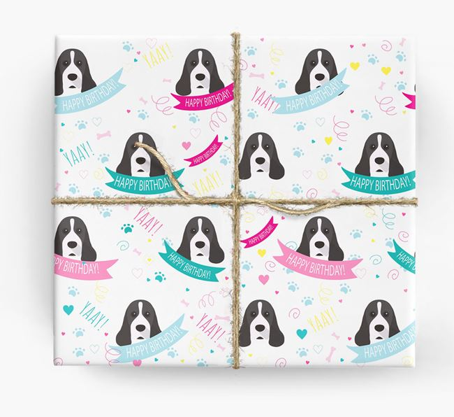 'Happy Birthday' Ribbon Wrapping Paper with American Cocker Spaniel Icons