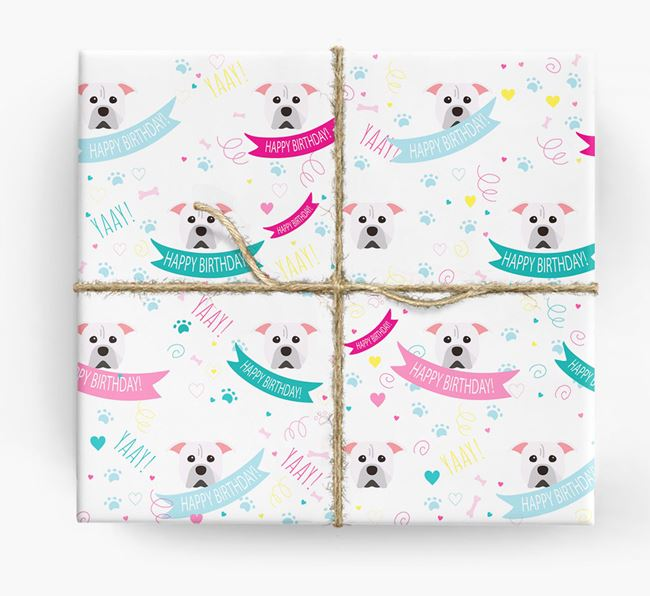'Happy Birthday' Ribbon Wrapping Paper with American Pit Bull Terrier Icons