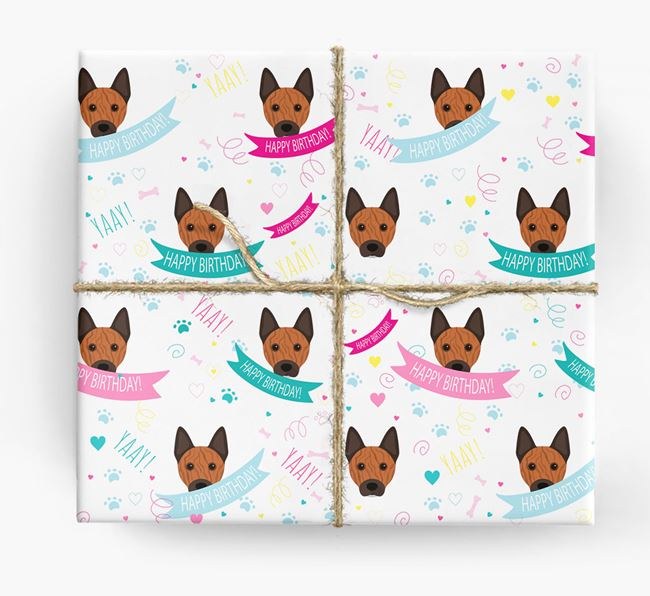 'Happy Birthday' Ribbon Wrapping Paper with Australian Cattle Dog Icons