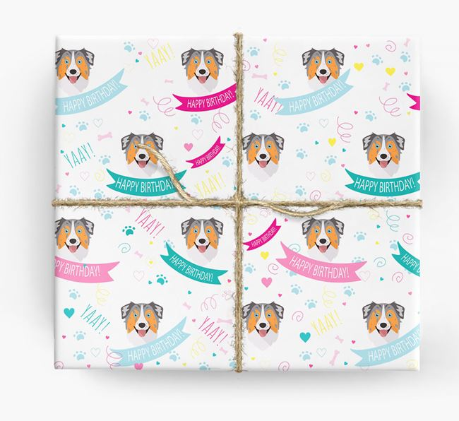 'Happy Birthday' Ribbon Wrapping Paper with Australian Shepherd Icons