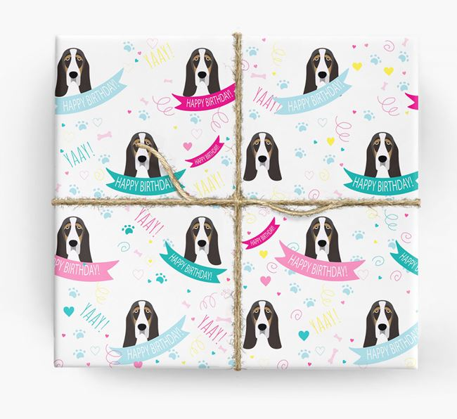 'Happy Birthday' Ribbon Wrapping Paper with Basset Hound Icons