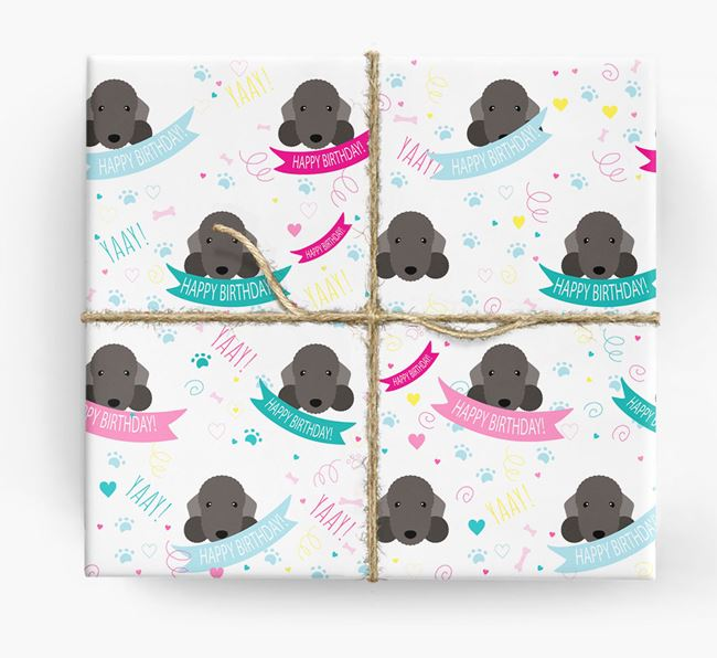 'Happy Birthday' Ribbon Wrapping Paper with Bedlington Terrier Icons