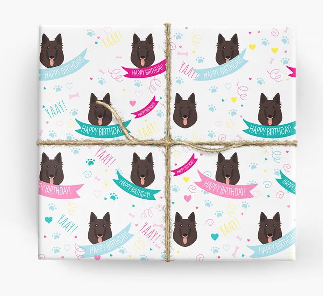 'Happy Birthday' Ribbon Wrapping Paper with Belgian Groenendael Icons